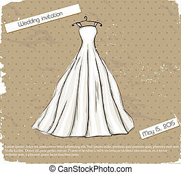 Vintage poster with beautiful wedding dress Vector...