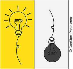 Bulbs - bulbs on and off in contrast vector illustration
