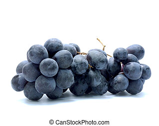 Black grapes isolated on white background.