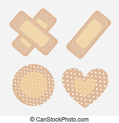 Bandages - bandages for wounds in different ways over white...