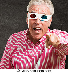 Man Pointing While Watching 3d Movie
