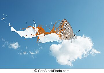 Butterfly in the sky - Concept of freedom with butterfly on...