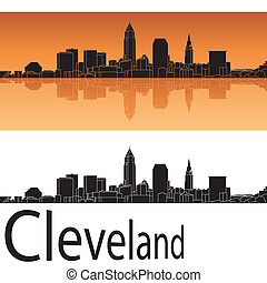 Cleveland skyline in orange background in editable vector...