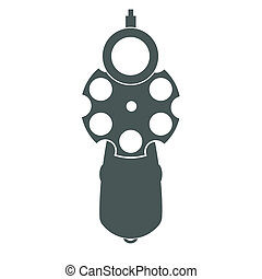 Retro gun front view - Retro pistol silhouette front view as...