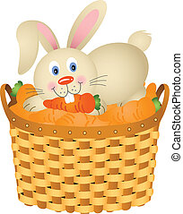 Bunny in a basket with carrots - Scalable vectorial image...