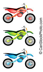Three Colors Illustration Set of Motorcycle Icon - An...
