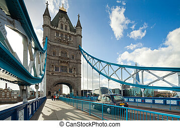 The famous Tower Bridge in London, UK. Sunny day. Photograph...