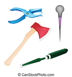 An Illustration Collection of Various Craft Tools -...