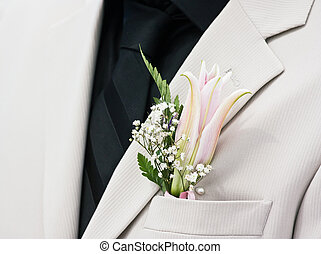 Bridegroom - Grooms wedding suit with boutonniere made of...