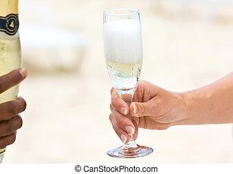champagne, spiaggia