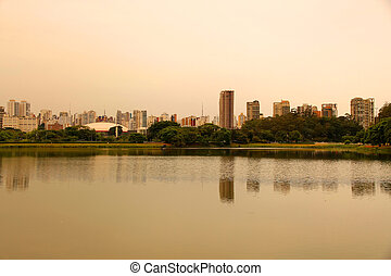 Evening in the Ibirapuera Park in Sao Paulo - The Ibirapuera...
