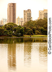 Reflections in the Ibirapuera Park in Sao Paulo - The...