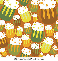 Cartoon seamless pattern with beer