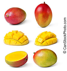 mango - Half cut and whole mango fruits on white background
