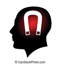 Human face with horseshoe magnet. Illustration on white...