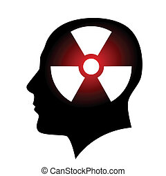 Human face with radiation sign Illustration on white...