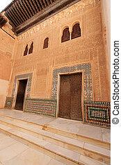 """Moorish architecture in the """"Patio del Cuarto Dorado"""" (Patio of"""