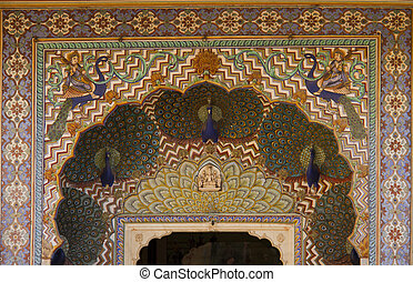 Travel India: peacock gate in Royal palace Jaipur from the...