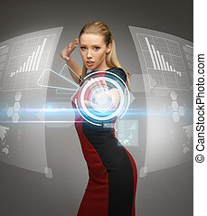 woman working with virtual touchscreens - picture of...