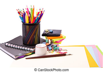 School and office stationary. Back to school concept -...