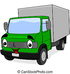 Cartoon truck - Cartoon illustration showing a happy green...