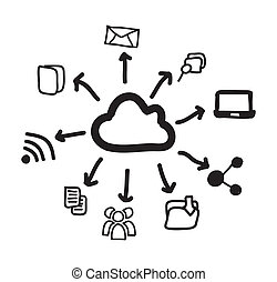 Communication icons over white background vector...
