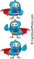 Super Blue Birds - Set 1 - Cartoon super blue bird character...