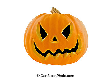 Jack-o-lantern isolated on a white background with clipping...