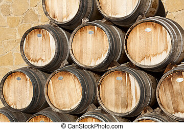 Barrels of wine, Samaniego, Alava, Spain