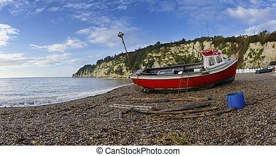 Fishing Boat on the Beach at Beer in Devon
