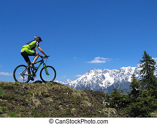 Mountainbiker in the Alps - Mountain biker riding through...