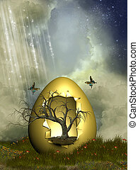 Fantasy egg with tree in the garden