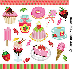Strawberry candies digital collage - Scalable vectorial...