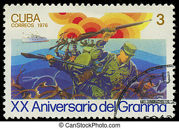 CUBA - CIRCA 1976: stamp printed in Cuba shows soldiers and...