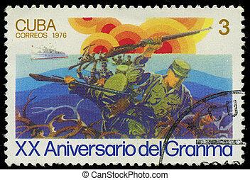 dedicado, circa, 20, Cuba, selo, 1976, bote, -, del,...