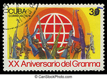 CUBA - CIRCA 1976: stamp printed in Cuba shows soldiers...