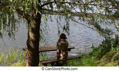 woman willow bench lake - woman girl sit on wooden bench...