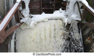 stream water dam winter