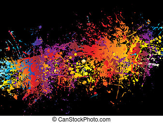 ink crash rainbow - Spray of multi coloured ink on a black...