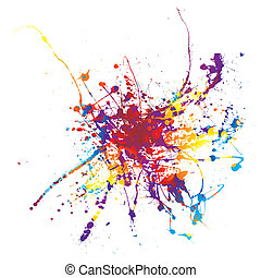 paint splat rainbow - Rainbow ink splat on a white...
