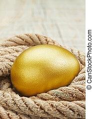 Easter golden egg against the ropes.