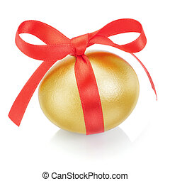 Golden easter egg with red bow. On a white background.