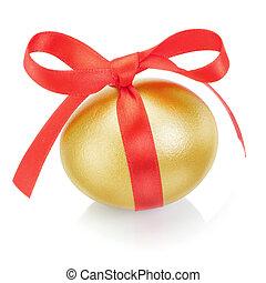 dourado, Páscoa, ovo, vermelho, arco, ligado, branca,...