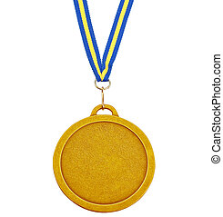Gold medal for success in business. On a white background.