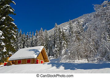 Colorful Chalet - Colorful wooden chalet in the sunshine and...