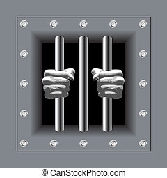 Prison bars with his hands