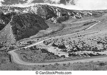 Cottonwood Canyon Road, Utah. - A black and white scenic...