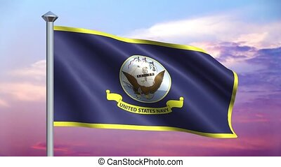 Navy Flag and Colorful Sky Loop - The Flag of the United...