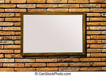 Blank of billboard on brickwall background