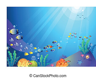 Underwater sealife - This illustration is a common natural...